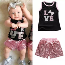 2017 Summer Lovely Toddler Kids Clothes Baby Girl Black Sleeveless Shirt Tops+ Pink Sequins Shorts Pants Outfit 2Pcs Set 1-6T