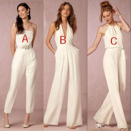 2018 Custom Made Jumpsuit Bridesmaid Dresses for Wedding Sheath Backless Wedding Guest Gowns Plus Size Pant Suit Beach BA7444