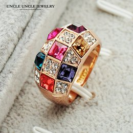 Rose Gold Color Multicolor Austrian Crystals Inlaid Luxury Queen Style Woman Finger Ring Wholesale