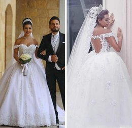 African Off Shoulder Appliques Lace A Line Wedding Dresses 2019 Open Back Formal Bridal Dress Plus Size Custom Made Arabic Wedding Gowns