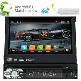 Single Din Android 6.0 Quad Core 7'' Motorized Detachable Touch Screen In Dash car DVD Player GPS Radio WIFI Bluetooth + 4G Dongle