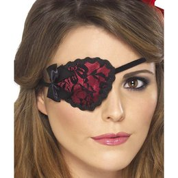 Adult Lady Pirate Eyepatch Red,Includes Red Eyepatch with Black Lace and Ties,Lady Pirate Costume Accessory Eye Patch, Black Red, One Size
