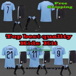 2018 Uruguay world jersey KIDS child kit home Soccer Jerseys M.VECINO D.GODIN J.M.Giménez L.SUAREZ E. CAVANI Football uniforms sales