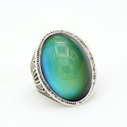 New Design Ladies Finger Focus on Mood Ring Emotion Feeling Vintage Silver Plated Color Change Rings MJ-RS058