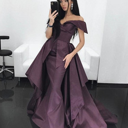Dubai Stylish Mermaid Prom Dresses With Overskirt Sexy Off Shoulder Sleeveless weep Train Party Dress Glamorous Celebrity Evening Dresses