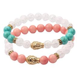 Lovers Gift 8MM Pink Green White Bead Buddha Charm Bracelet Adjustable Elastic Bracelet Jewelry for Couple MJ-BB007-8