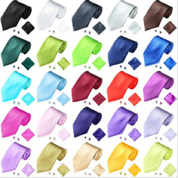 necktie set handkerchief cufflink business polyester tie hanky neckwear brand ties for men leisure wedding accessories 25sets lot