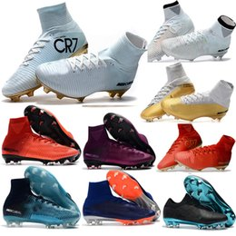 100% Original Children soccer shoes Womens Girls Superfly FG CR7 soccer cleats Mens cristiano ronaldo High Ankle Kids Boys football boots