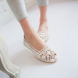2018 new shoes Plus Big size soft Women Sandals Office & Career Breathable Flat Ballet Flats Loafers Slip-On Summer Cut-Outs Lace