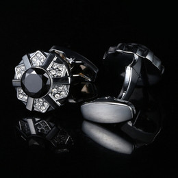 The new French men and black crystal Cufflinks Cuff nails Silver Cufflinks perfect gift