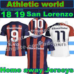 New San Lorenzo home away Soccer Jersey 18 19 San Lorenzo de Almagro away white Soccer Shirt Customized 2018 football uniform Sales