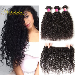 Nadula Indian Curly Hair Bundle With Lace Closure Virgin Hair Extension Remy Human Hair Wefts Weave Closure Brazilian Curly Weave Bundle