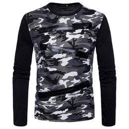 2018 spring new long-sleeved camouflage T-shirt new men's round neck fashion Slim T-shirt comfortable breathable