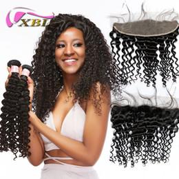 xblhair deep wave human hair closure lace frontal with bundles virgin brazilian deep wave human hair bundles