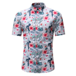 Summer new men's short-sleeved printed shirt linen shirt fashionable and comfortable casual style