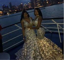 Bling Bling Mermaid Prom Dresses 2018 Sexy Deep V Neck Beads Crystals 3D Floral For Black Girls African Evening Dresses Plus Size