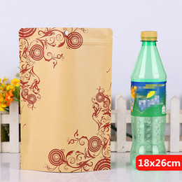 18x26cm printing stand kraft paper laminating aluminum foil ziplock packaging bags mylar food tea baking reusable heat sealing package pouch