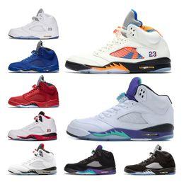 Cheap 5 Men Basketball Shoes Fresh Prince International Flight bred OG Black Metallic White Grape Cement Blue fire red Suede sports Sneaker