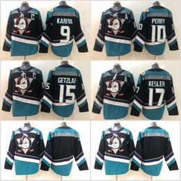 15 Ryan Getzlaf Jersey Anaheim Ducks 17 Ryan Kesler 10 Corey Perry 9 Paul Kariya 8 Teemu Selanne Black Green Orange Hockey Jerseys