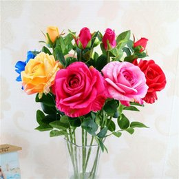 Artificial China Rose Fake Monthly Rose Wedding Decoration Flower Silk Flower 63 cm 3 Flowers 1 PC
