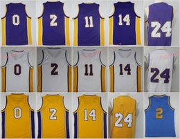 2018 New Men's Jerseys 0 Kuzma 2 Ball 11 Lopez 14 Ingram 24 Purple Yellow White 100% Stitched