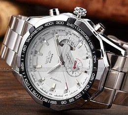 DISCOUNT! 2019 Fashion Brand Winner Stainless Steel Self Wind Automatic Mechanical Men Watch For Men sports Wristwatch