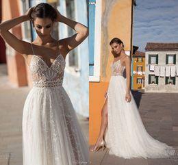 Gali Karten 2018 Summer Beach Wedding Dresses Illusion Spaghetti Straps Lace High Side Split A Line Ivory Bridal Gowns