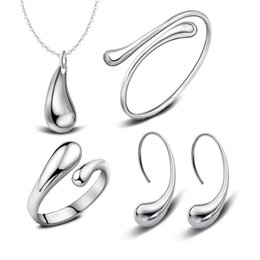 Top Quality 925 Stering Silver Jewelry Set Water Drop Jewelry Sets Necklace+Bracelet Bangle+Earring+Ring Set For Women