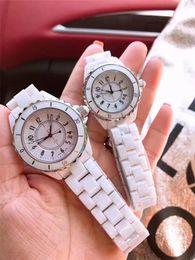 Luxury Brand Lady White Black Ceramic Watches High Quality Quartz Wristwatches For Women Fashion Exquisite Women