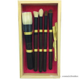 Mybasy New Wool 5pcs Makeup Brush Set With Unique Exquisite Design Wooden Wood Box Goat Hair Makeup Tools Factory Directly Sale