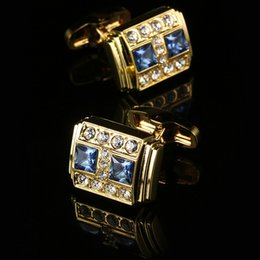 New genuine gold plated double blue crystal French cufflinks High-grade gold man sleeve cuff free shipping gold