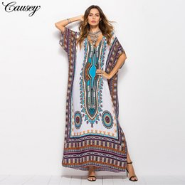 2018 Spring Women's Large Size Explosion Casual Loose South American Wind Print Casual Fashion Sneakers Dress Robes