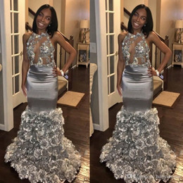 Sexy Black Girls Prom Dresses Mermaid Silver Formal Evening Gowns 3D Floral Skirt Bling Bling Lace Sequins African Party Gowns