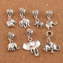 140pcs lot Mixed Elephant Big Hole Dangle European Beads Tibet Silver Fit Charm Bracelet Loose Beads