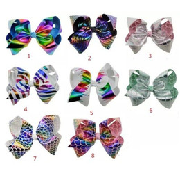 8 Inch JOJO Large Rainbow printing Hair Bow Hairclip Boutique Handmade Hair Accessories For Kids