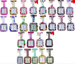 Wholesale 50pcs lot 26colors Square Colorful Prints Silicone Nurse watch Pocket Watches Doctor Fob Quartz Watch Kids Gift Watches NW013
