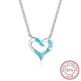 high quality rhodium plating heart pendant necklace jewelry white color synthetic opal pjewelry for love wholesale