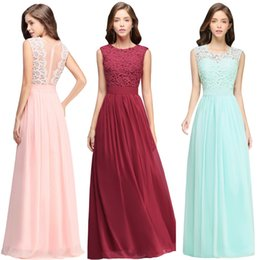 Cheap Lace Chiffon Bridesmaid Dresses Country Style New Maid of Honor Gowns A Line Long Wedding Guest Dresses CPS489