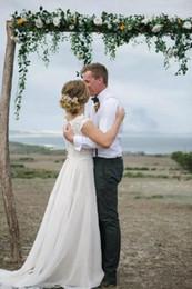 Romantic Appliques Boat Neck A line Beach Wedding Dress cape Sleeveless Chiffon country bohemian Wedding Bridal Gown 2019