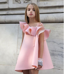 2018 new summer baby girl pagenant dresses fashion pink dress for kids princess party tutu sundress short sleeves onesie maxi outfits