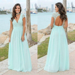 2018 Chiffon Mint Green Country Bridesmaid Dresses Bohemian A Line Cap Sleeves Sexy V Neck Backless Long Maid of Honor BM0142