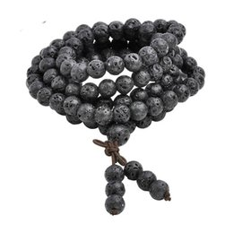 Hot Wholesale 6mm 8mm Natural Lava Rock Stone Healing Gem Stone 108 Buddhist Prayer Beads Tibetan Mala Bracelet Necklace