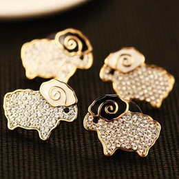 Hot Sale Animal Earrings Crystal & Enamel Sheep Stud Earrings for Women Charms Jewelry Fashion Accessories Gold Plated