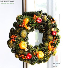 "D13.7"" Pumpkin Wreath for Door Fall Home Decoration Gold Craft Hangings Harvest Autumn Wreath with or without Lights Decorations"
