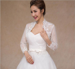 New Off The Shoulder Shoulder Long Sleeve Lace Bolero Jacket Bridal Wedding Jackets Women Wedding Jackets