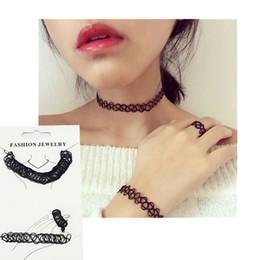 Vintage Stretch Tattoo Choker Necklace Fashion Adjustable Bracelet & Ring & Necklace Elastic Women Jewelry Set Black