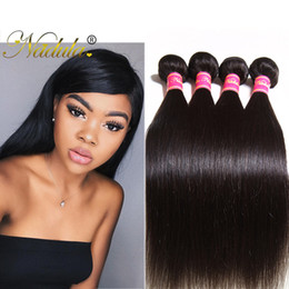 Nadula Brazilian Straight Hair Bundles with Lace Closure 4Bundles With Closure Virgin Hair Extension Unprocessed Remy Human Hair Wefts Weave