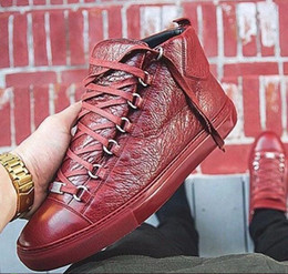 Men's Fashion arena High-top Bovine skin wrinkle crack Leather Lace Up zapatos hombre French Style Sneakers kanye west Shoes