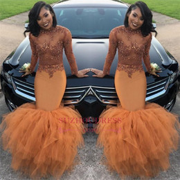2k18 African Long Sleeve Prom Dresses Tiered Skirts High Neck See through Lace Applique Top Beaded Plus Size Evening Gowns BA8084