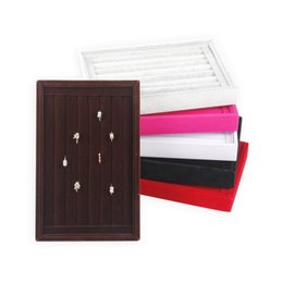 TONVIC 2 Wholesale 22.5*14.5cm Ring Jewelry Display Tray 7 Rows Earring Pendant Storage Display Velvet Leather Tray